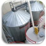 Feed mill grain storage bins