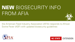 green and white announcement of a new AFIA biosecurity guidance document