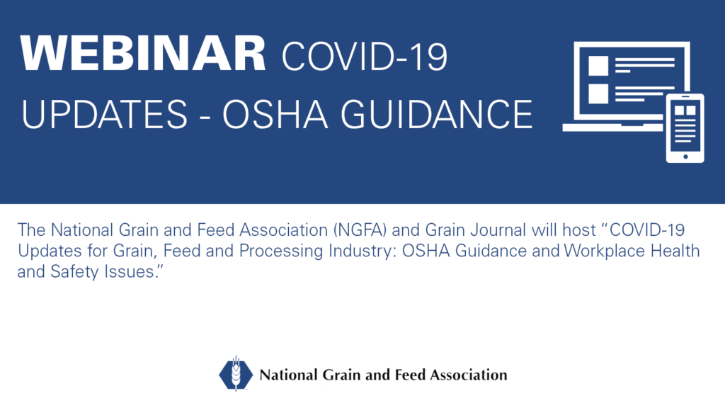 graphic with text reading Webinar: COVID-19 Updates - OSHA guidance