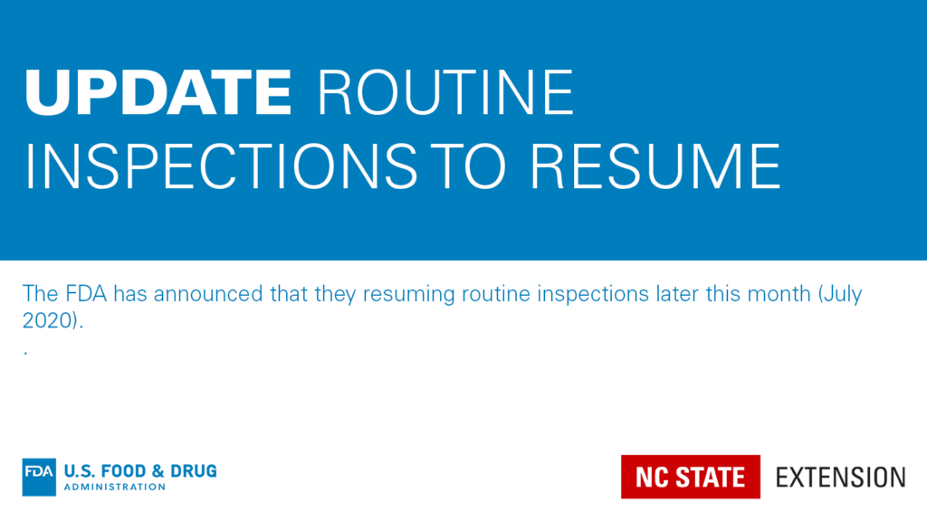 Blue and white graphic with text Update: Routine Inspections to Resume