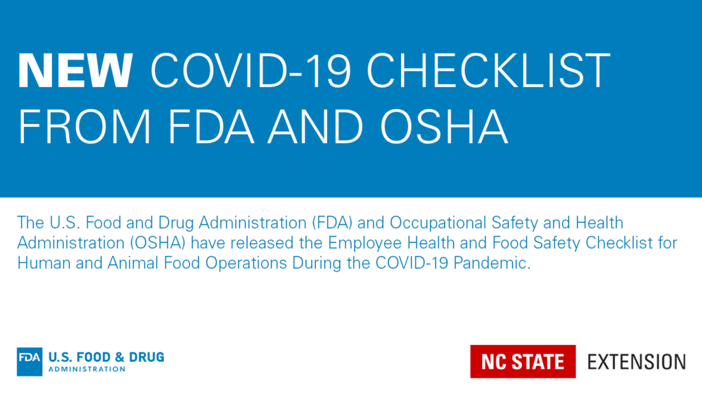 Announcement with text New COVID-19 Checklist from FDA and OSHA