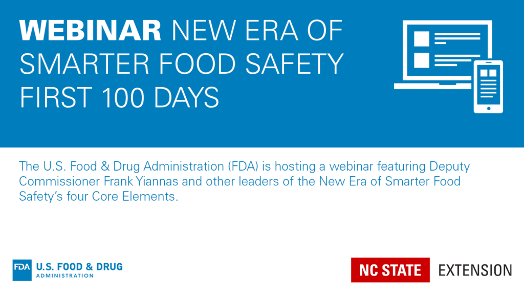 Blue banner with device icon and text Webinar: New Era of Smarter Food Safety First 100 Days