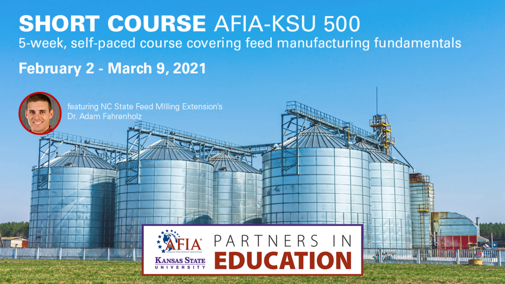 A feedmill with overlay text Short Course AFIA-KSU 500