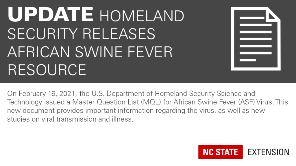 Update Homeland Security releases African Swine Fever resource