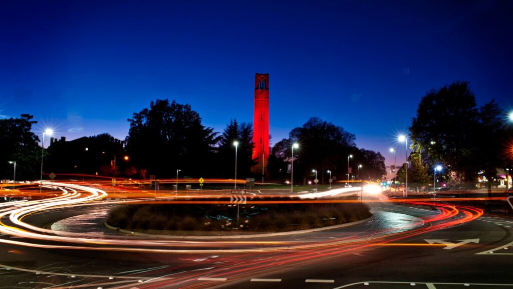 Photo of NC State Bell Tower at dusk