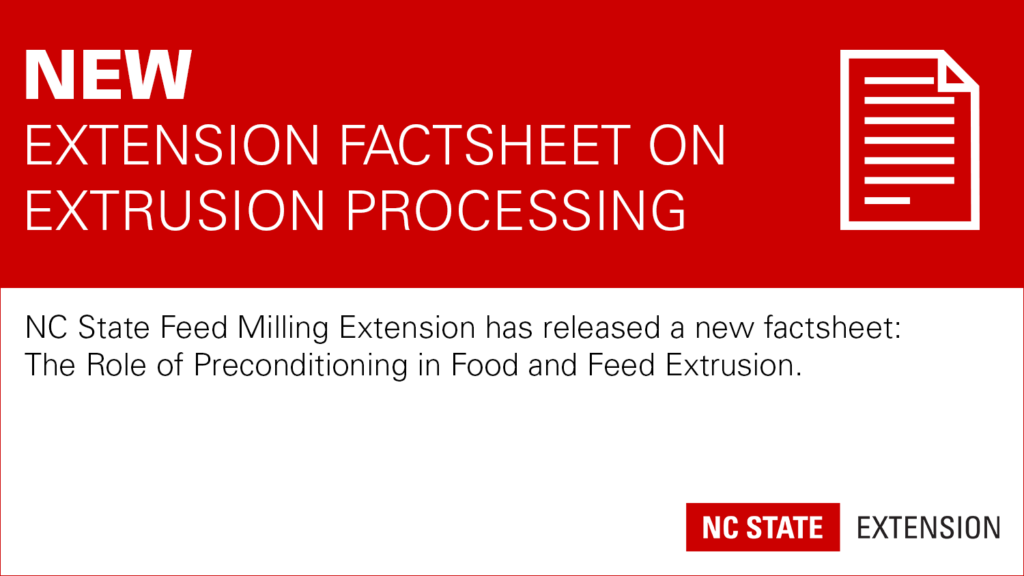 Red banner with text New: Extension Factsheet on Extrusion Processing